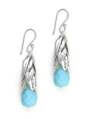 Sterling Silver Cascading Leaves and Crystal Drop Earrings, Sky Blue