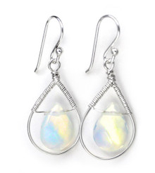 Sterling Silver Wire-wrapped Crystal Teardrop Earrings, Iridescent Clear