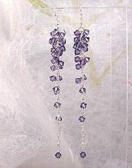 "Sterling Silver Tanzanite ""Martini"" Crystal Cluster Earrings"