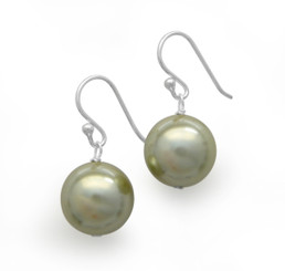 Sterling Silver Shell Pearl Drop Earrings, Pale Gray Green
