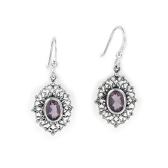 Sterling Silver Filigree Frame Crystal Drop Earrings, Purple