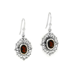Sterling Silver Filigree Frame Crystal Drop Earrings, Red