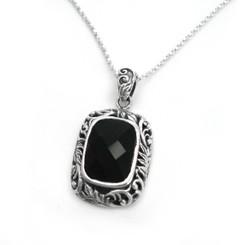 """Sterling Silver """"Kathleen"""" Ornate Leaves Frame Black Crystal Necklace, 18"""""""