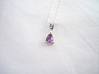 Genuine Amethyst Sterling Silver Necklace