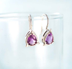 Genuine Amethyst Sterling Silver Earrings