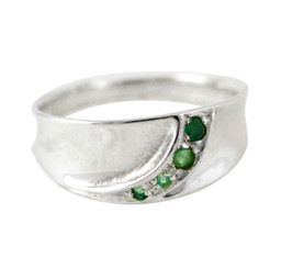 Sterling Silver Emerald Band Stone Ring