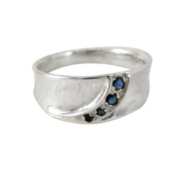 Sterling Silver Sapphire Band Stones Ring