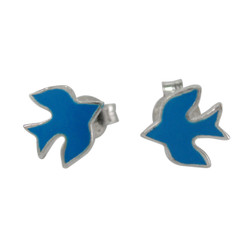Sterling Silver Enameled Swallow Bird Stud Post Earrings, Azure Blue