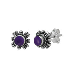 "Sterling Silver Round Simulated Stone ""Samara"" Stud Post Earrings, Sugilite"