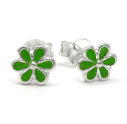 Sterling Silver Enamel Daisy Flowers Stud Post Earrings, Green