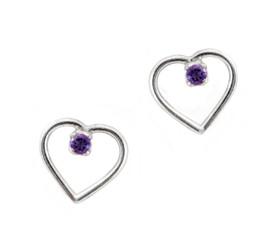 Sterling Silver Open Heart and Gemstone Stud Post Earrings, Amethyst