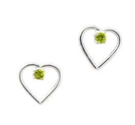 Sterling Silver Open Heart and Gemstone Stud Post Earrings, Peridot