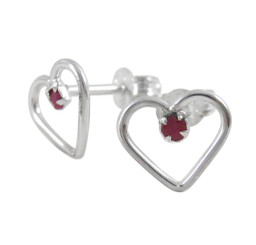 Sterling Silver Open Heart and Gemstone Stud Post Earrings, Ruby