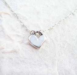 Modern Silver Heart Necklace, 16""