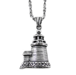 Sterling Silver Lighthouse Charm Necklace, Antique Finish