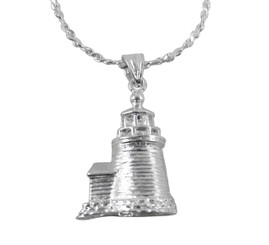 Sterling Silver Lighthouse Charm Necklace, High Polish