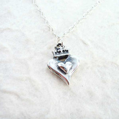 Crowned Heart Sterling Silver Necklace
