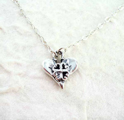 Heart and Crest Sterling Silver Necklace