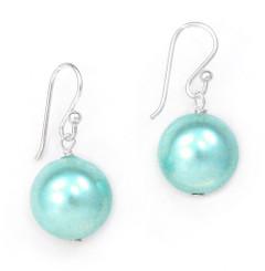 Sterling Silver Shell Pearl Drop Earrings, Blue