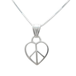 Sterling Silver Heart Peace Sign Necklace