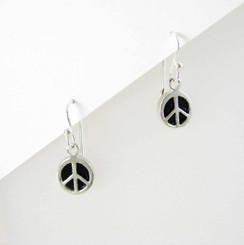 Sterling Silver Onyx Peace Earrings