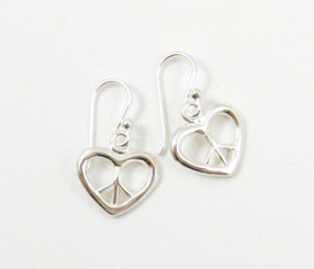 Sterling Silver Peace Sign Heart Earrings