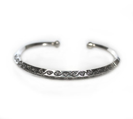 Sterling Silver Angular Floral Cuff Bracelet