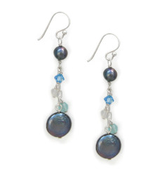 Sterling Silver Cultured Coin Pearl Beaded Chain Drop Earrings, Peacock