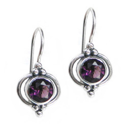Sterling Silver Round Stone Madelin Drop Earrings, Purple