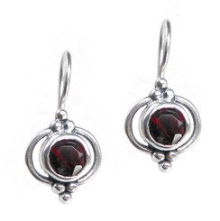 Sterling Silver Round Stone Madelin Drop Earrings, Red