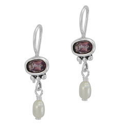 Sterling Silver Oval Crystal Cultured Pearl Drop French Hook Earring, Purple