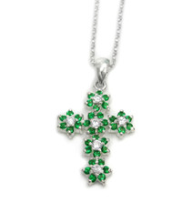 Sterling Silver Sparkling Flower Cross Necklace, May Green