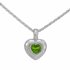 Sterling Silver Crystal Heart Pendant Necklace, Spring Green