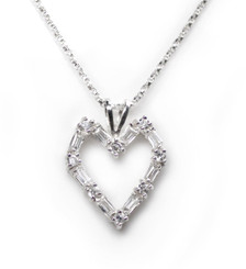 Sterling Silver Sparkling Open Heart Twist Box Chain Necklace, 18""