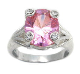 Sterling Silver Four Points Crystal Prongs Cocktail Ring, Pink