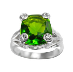 Sterling Silver Four Points Crystal Prongs Cocktail Ring, Spring Green