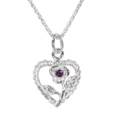 Sterling Silver Heart & Rose Necklace, February Purple