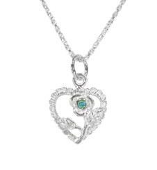 Sterling Silver Vintage Heart Rose Necklace, March Blue