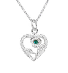 Sterling Silver Vintage Heart Rose Necklace, December Blue