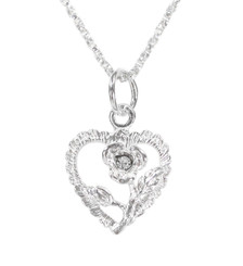 Sterling Silver Vintage Heart Rose Necklace, April Clear