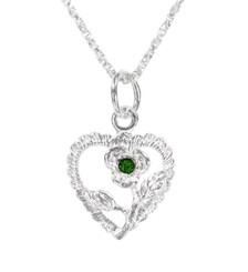 Sterling Silver Heart & Rose Necklace, May Green