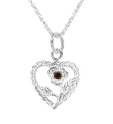 Sterling Silver Heart & Rose Necklace, January Dark Red