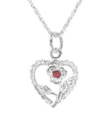 Sterling Silver Heart & Rose Necklace, October Pink