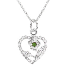 Sterling Silver Heart & Rose Necklace, August Light Green