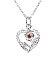 Sterling Silver Heart & Rose Necklace, July Red