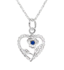 Sterling Silver Heart & Rose Necklace, September Blue