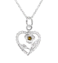 Sterling Silver Heart & Rose Necklace, November Yellow