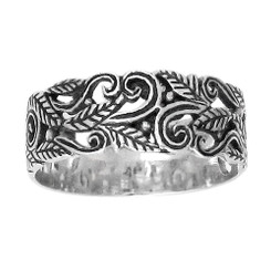 Sterling Silver 7mm Swirl Leaves Vines Filigree Band Ring