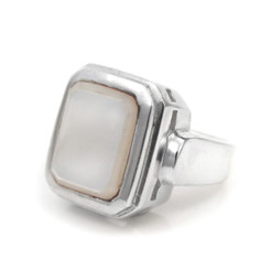 Sterling Silver Rectangular Mother of Pearl Ring, White