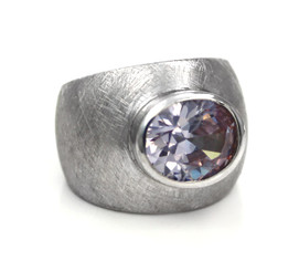 Sterling Silver Etched Finish Crystal Ring, Lavender